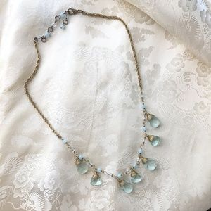 Jewelry - Necklace, Sky Blue and Clear Stones, w/Gold
